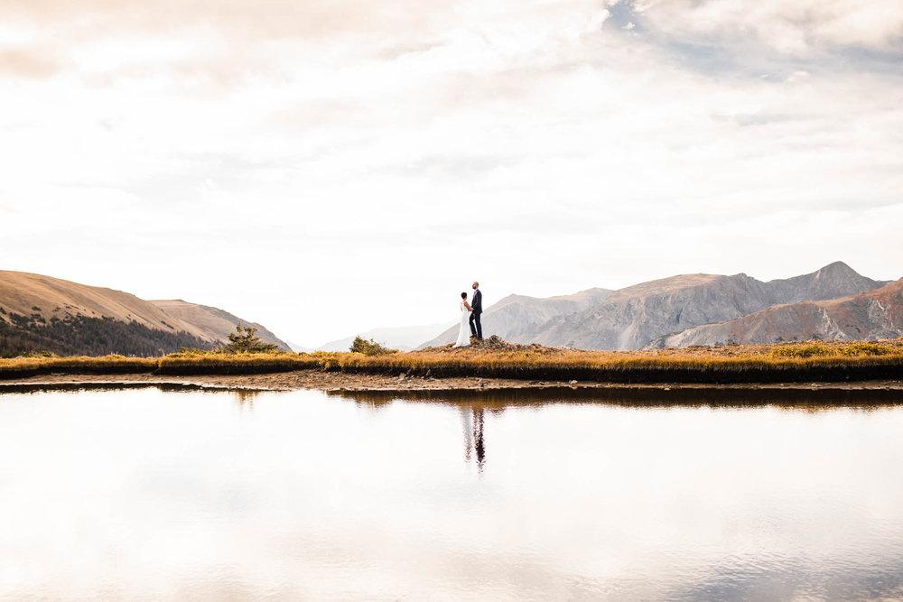 sunrise Rocky Mountain elopement | Colorado elopement photographers