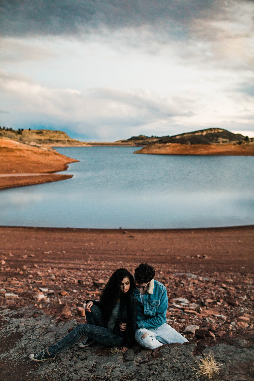 mountain engagement photos by Colorado wedding photographers | Fort Collins wedding photographers