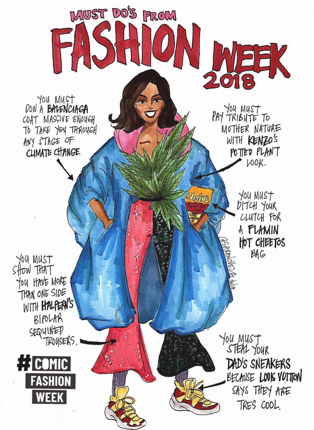 comic fashion week - Two artists, seven days, fourteen comics total poking fun at Fashion Week Fall/Winter 2018. A collaboration with Mexico-born, Amsterdam-based fashion journalillustrator Talia Cu.