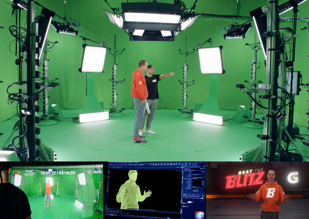 The First Published Game to feature Volumetric Capture   We flew out to Seattle and captured Peyton Manning on the Holostage in  Microsoft's Mixed Reality Capture Studios . Microsoft had been using this technology to create holograms for their AR Hololens project, but no one had ever utilized the tech to use in a VR game. The result of volumetric capture is a model of Peyton Manning that you can move around and see from any angle. It feels like he's actually standing there in the room with you.