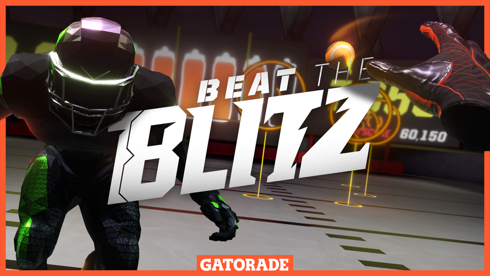 The Cover Art - The cover artwork is crucial when battling for attention in game stores. Using Gatorade's iconic orange, I created a border that doubles as way to fake depth and make the hand and the Blitzer Bot feel like they're coming out of the screen.