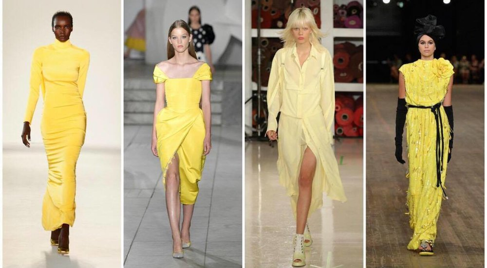 YELLOW Dresses: Spring & Summer 2018, pic from left to right ... Caroline Herrera, Sies Marjan, Marc Jacobs Source: LA Times, by Adam Tschorm How Can You Not Look Forward to wearing yellow?!