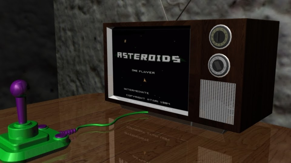 Still Life  A digitally modeled television and Atari handset placed in a basement setting, using Maya modeling software.