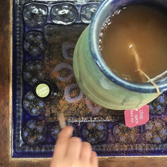 "CHAI WITH CARDAMOM EO🌿 It is so rainy and raw outside here today on the North Shore! Yesterday felt like Spring. Today we have a Nor'Easter, a fire going and it's a good day for a warm drink. I have a new bottle of Cardamom essential oil from last week's buy one get one free week so chai felt like a good choice! I boiled water and steeped one bag of Stash chai tea. Then added honey, cinnamon and unsweetened almond milk. I started with dipping a toothpick into the bottle of cardamom essential oil and stirring it into my mug. But it didn't give enough cardamom flavor so I just went for it and put a whole drop in! It tastes so good and not overpowering at all. It actually prompted me to add more cinnamon, more honey and more almond milk to make the flavors stronger all around. It tastes slightly sweet, warming and earthy. 🌿 Cardamom is a wonderful essential oil for opening up the respiratory system as well as aiding in digestion. From an emotional standpoint, Cardamom is the essential oil of objectivity and can help in digestion of energy and emotions, too. ""Cardamom assists individuals to break down or ""digest"" (these) intense emotions of frustration and anger by redirecting energy to the solar plexus, the center of responsibility. In this way, Cardamom, helps individuals let go of emotional distortions which cause them to objectify other people and see them as inconveniences. Cardamom demands that individuals stop blaming others. It asks them to take personal ownership and responsibility for their feelings. As they do they will feel more at peace, calm, and in control of themselves."" — from the 5th edition of Emotions and Essential Oils. 🌿🕊✌🏼💞 What are you favorite tools for ""digesting"" strong emotions? In addition to oils I like yoga and journaling!"