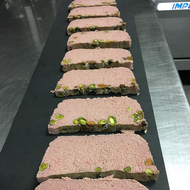 Pork liver mousse pâté with roasted pistachios. Maybe consider a drizzle of olive oil and some flake salt on top. 🤞 the headcheese turns out tomorrow! .....…........................... BonTon Pop up Saturday  3 to ? Then shutting it down for a wee break. #offalweek #localtreats #shoplocal