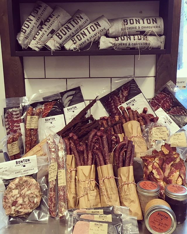 Just a sampler of what will be available today at 3:00pm! Salamis, sausages, bacon, headcheese, liver pâté, Tasajo, kabanosy and spicy cranberry meat sticks....I'll stop. #locallymadegoods #giftlocal #supportyukonfarms