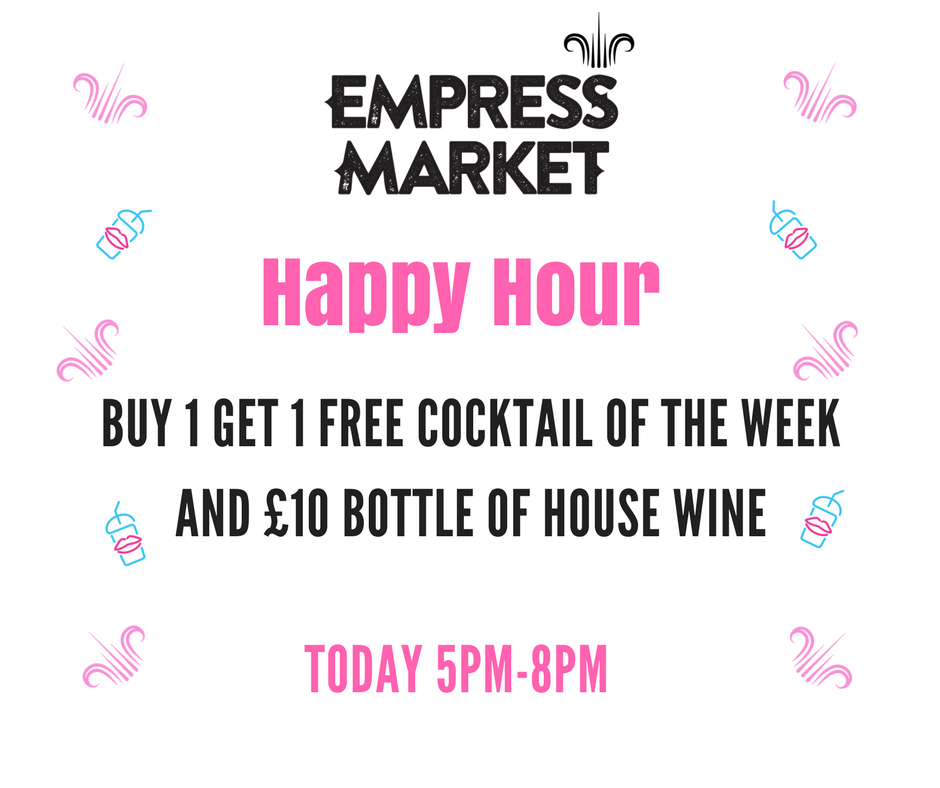 Come and join us every Saturday for happy hour from 5pm-8pm featuring buy one get one free on the cocktail of the week and bottles of house wine for £10! -