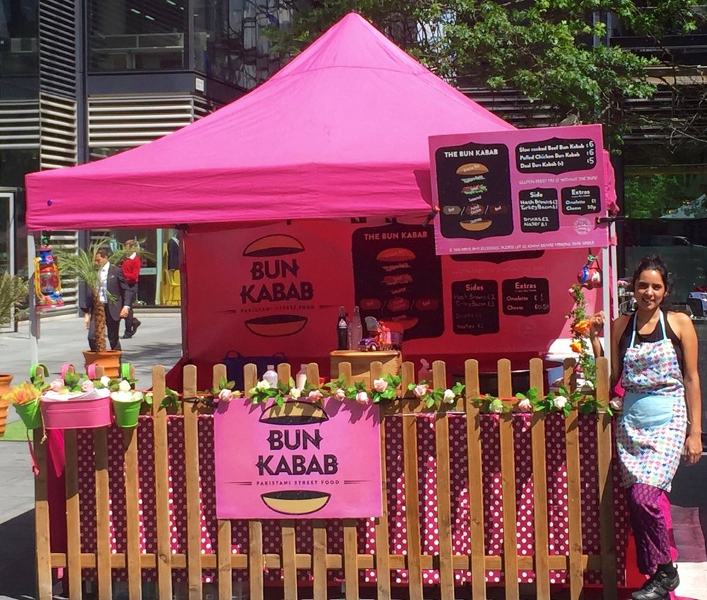 BUN KABAB -  Bun Kabab is the first street food stall of its kind in the UK with the very first female trader in the world! Bun Kabab has popped up at various markets and festivals including the Southbank, the 02 arena, Secret Garden Party, Broadgate Circle and Covent Garden.