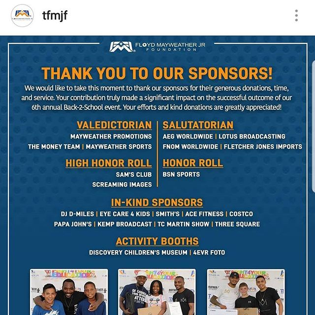 Thank you @tfmjf ❤ We've sponsored the annual  #floydmayweatherjrfoundation #back2school event over the past years because it's a great way to give back to our city. Kids receive backpacks & school supplies and engage in fun activities before heading back 2 school. If you'd like to get involved next year please send us a message for details. #giveback #lasvegas #lasvegascommunity #tfmjf #mayweatherpromotions #fnomworldwide