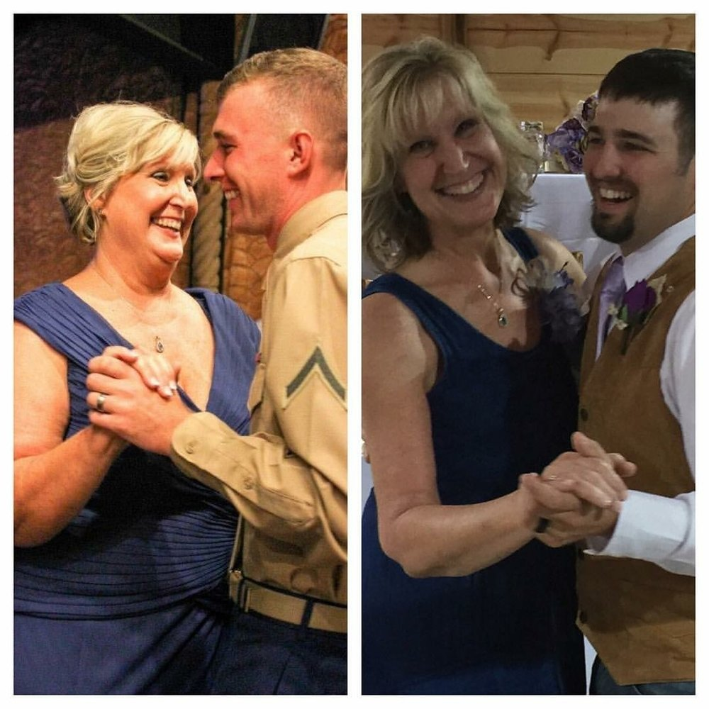 Left Picture - Lisa with her older son at his wedding in August 2014. Right Picture - Lisa with her younger son at his wedding in June 2016.