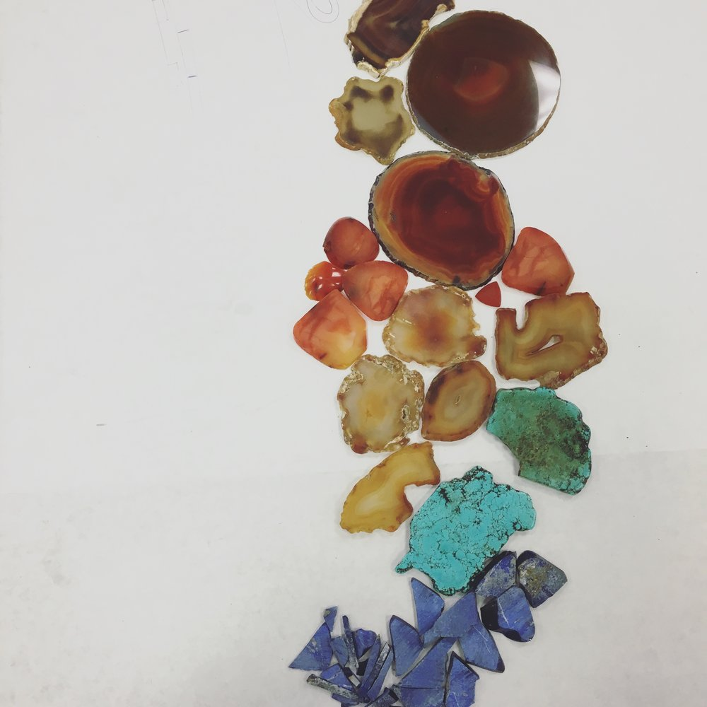 Raw carnelian, turquoise, and lapis