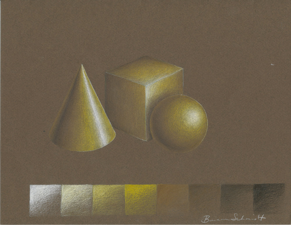 Gold rendering (colored pencil)