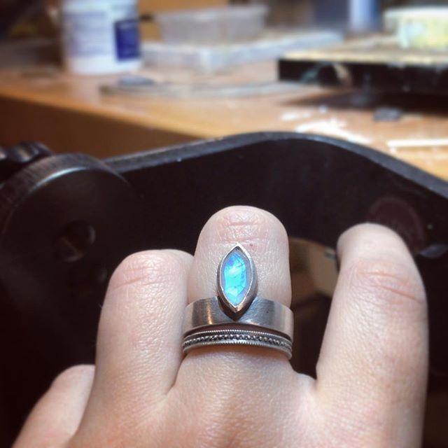 Moonstone ⚡️ #ring#handmade#silver#stackingrings#stack#moonstone#stone#setting#stonesetting#band#metalsmithsociety#blackenedsilver#sterlingsilver#bezel#jewelry#handmadejewelry#jewelryartist#ringstack