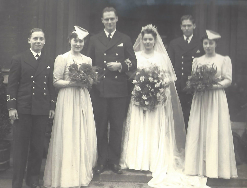 Irene and Mac on their wedding day, 17 January 1942. No known copyright restrictions.