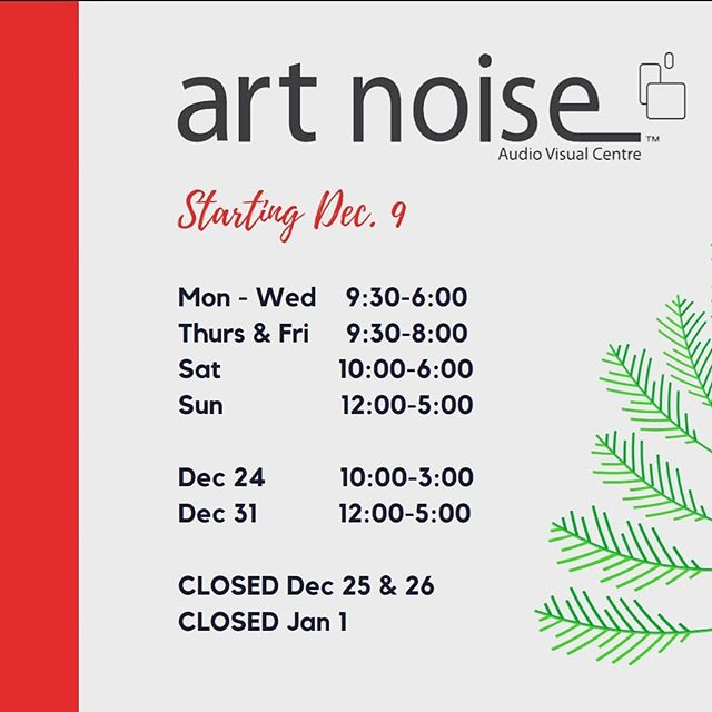 Art Noise Holiday hours. Stop by til 8pm tonight and tomorrow! Happy Holidays!! 🥂☃️
