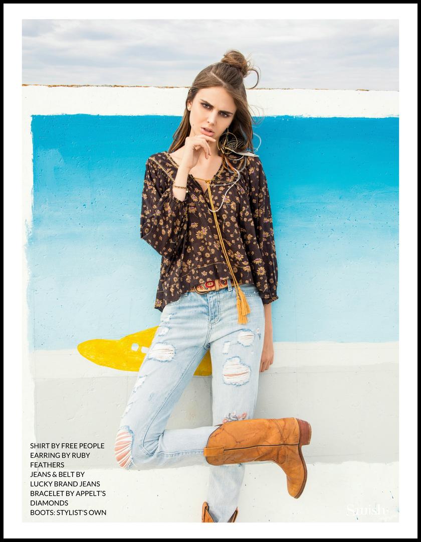 Free People Shirt |  Ruby Feathers Earring |  Lucky Brand Jeans & Belt  |  Appelt's Diamonds   Bracelet