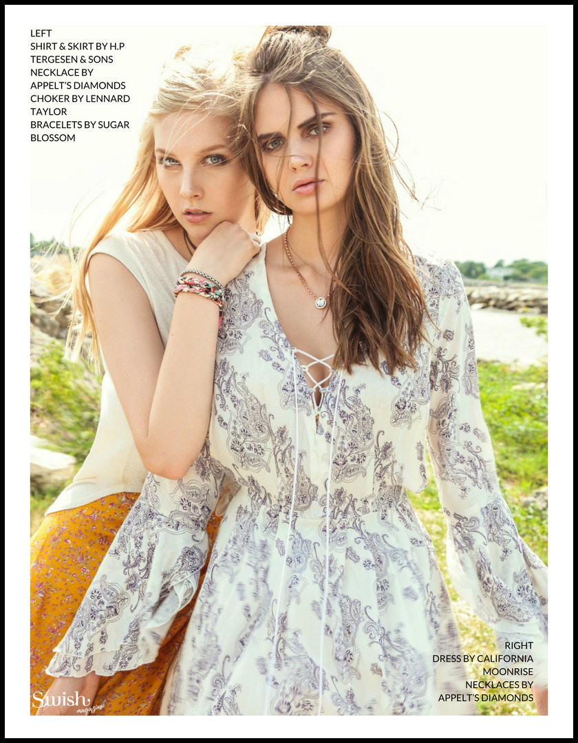 H.P Tergesen Shirt & Skirt |  Appelt's Diamonds Necklaces  |  Lennard Taylor Choker |  Sugar Blossom Bracelets |  California Moonrise Dress