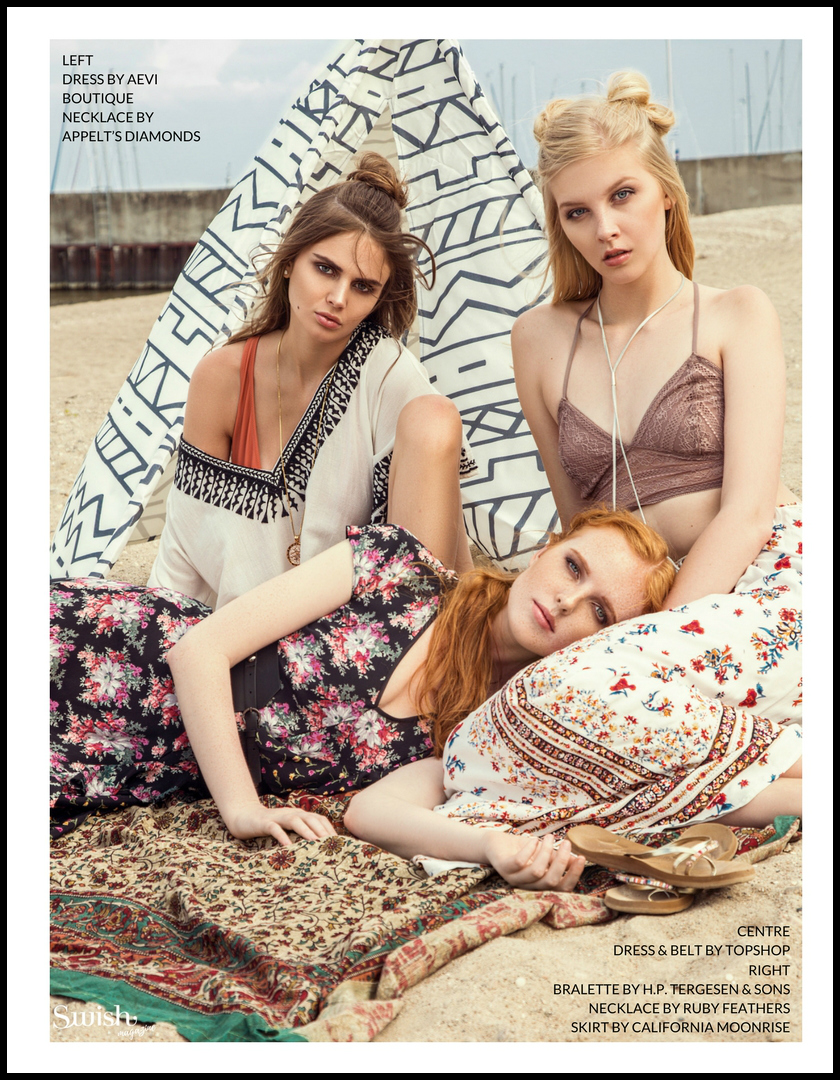 Left:    Dress-Aevi Boutique |  Appelt's Diamonds Necklace |Centre: Topshop Dress &  Belt | Right:   H.P Tergesen Bralette |  Ruby Feathers Necklace |  California Moonrise Skirt