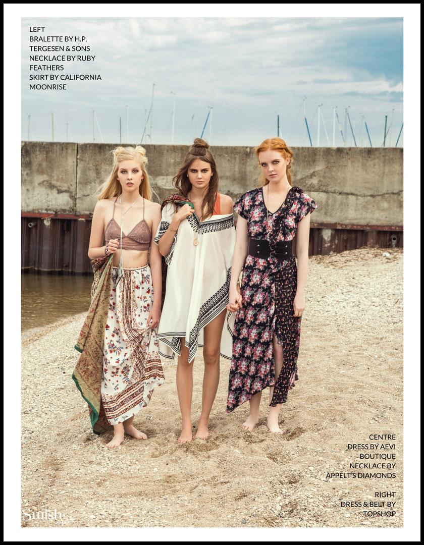 Left:   H.P Tergesen Bralette |  Ruby Feathers Necklace |  California Moonrise Skirt |Centre:    Dress-Aevi Boutique |  Appelt's Diamonds Necklace |Right  : Topshop Dress &  Belt |