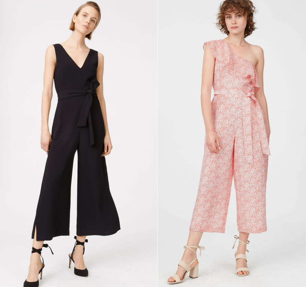 shop the look -   Club Monaco- Akinya Jumpsuit (left) Lene Printed Jumpsuit (right)