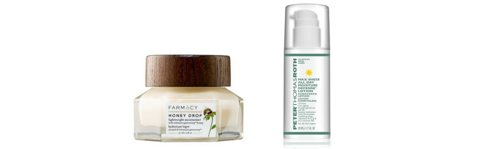 Farmacy Honey Drop Lightweight Moisturizer with Echinacea GreenEnvy  |  Peter Thomas Roth Max Sheer All Day Moisture Defense Lotion broad spectrum SPF 30