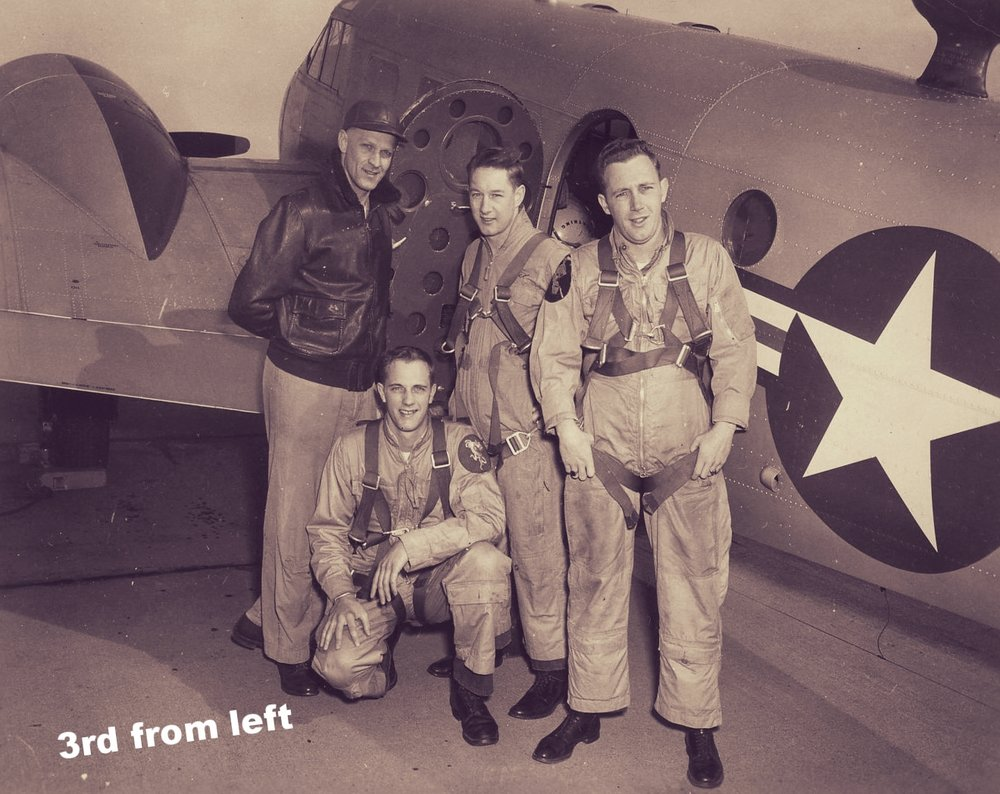 Lt Holmgaard, Bob Davis, Joe Bryce, Bill Dennison April 1954.jpg