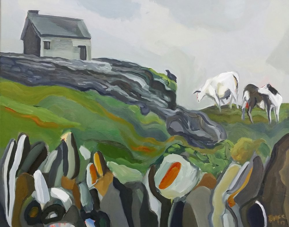 INISHEER COTTAGE WITH COWS AND BIRD