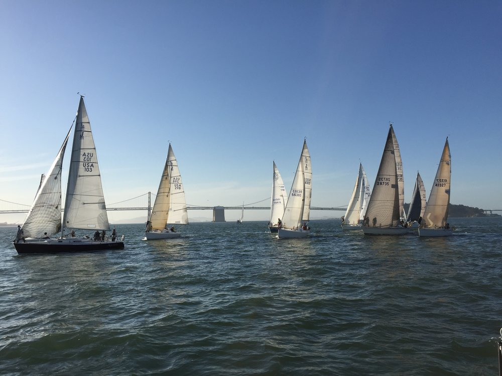 racing with the crew south of the bay bridge
