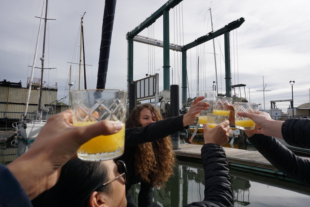 toasting  windfola  at her splashdown and christening