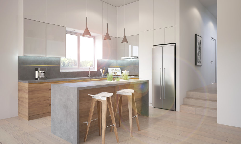 Residential kitchen area with custom joinery.