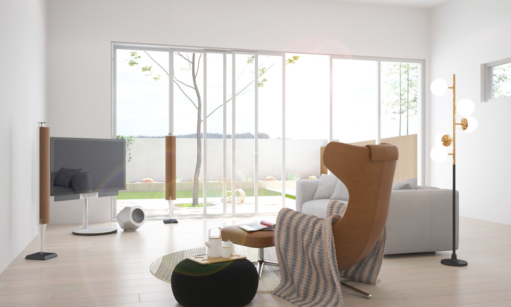 Copy of Living area with tv and loose furniture, backyard in the background.