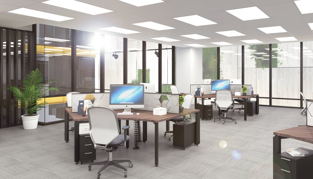 Office area with workstations and chairs.