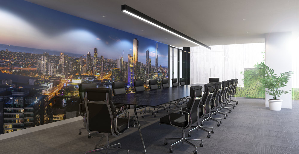 Conference room with furniture.