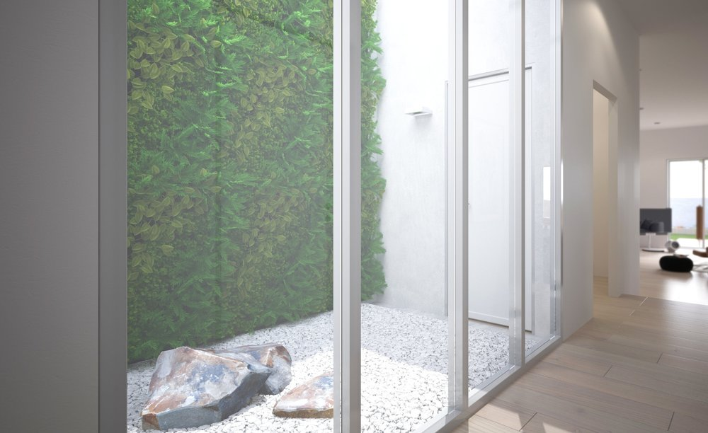 Residential green atrium with wall climbing plants.
