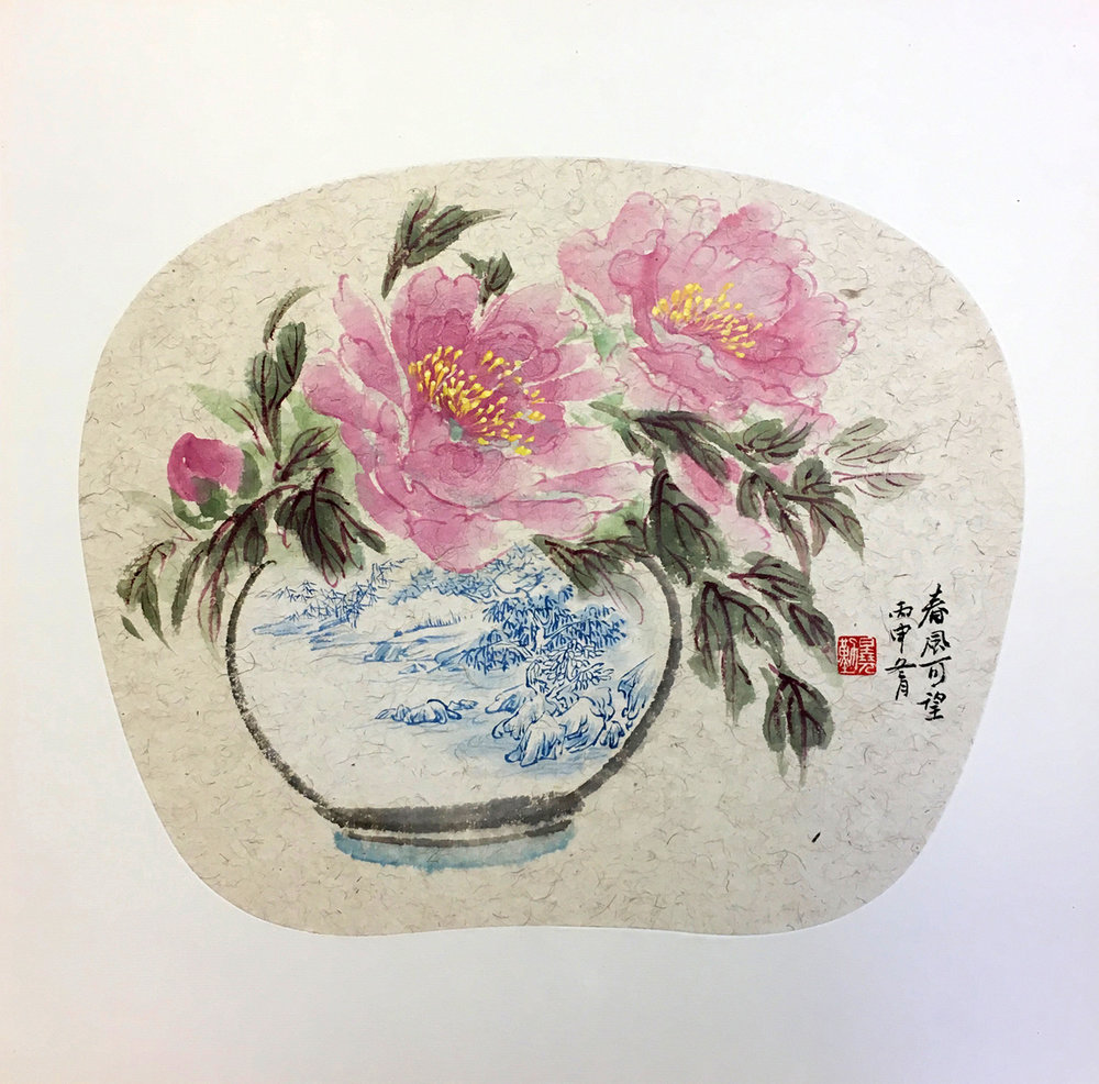 Pink Peonies in Blue-Detailed Vase
