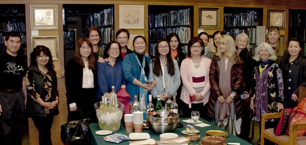 """Many of Janny Huang and Joseph Yan's current and former students came to celebrate """"Exquisite Blooms"""" (Janny in the center, Joseph on the far left)"""