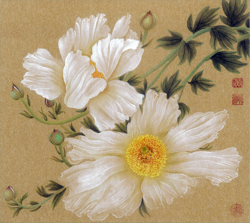 "Matilija Poppies No. 2, 2008; ink and color on gold Japanese board, W: 10.5"" H: 9.5"""