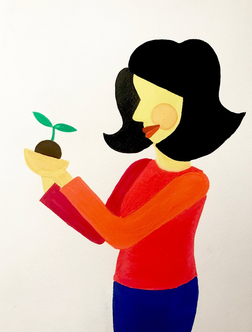 Woman with Plant I