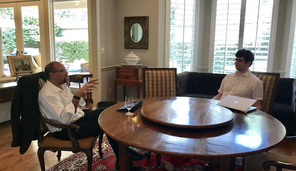 William Purdy speaking with venture capitalist, Mr. Kemal Farid
