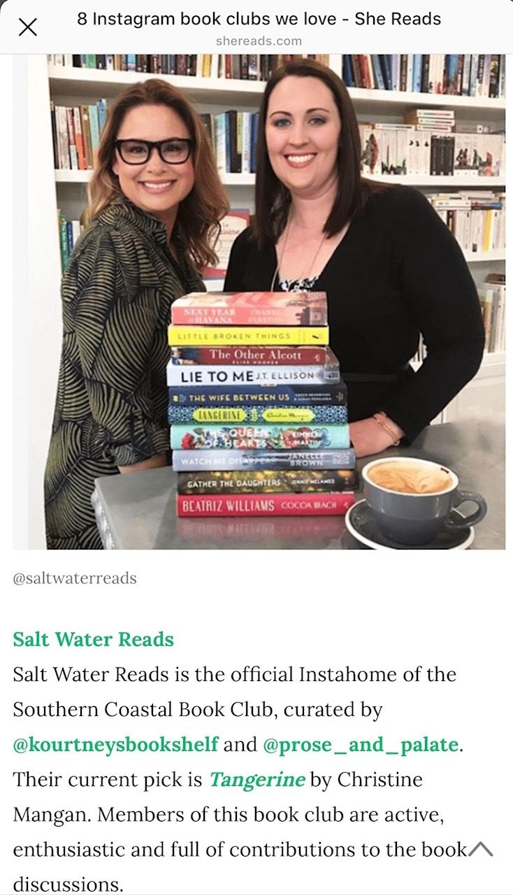 As featured in the article 8 Instagram Book Clubs we love by Alison Luther for shereads.com, a division of Book Sparks