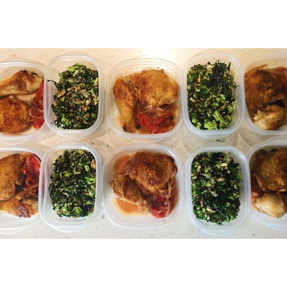 Tomato Braised Chicken Thighs and Broccoli, Kale and Quinoa Salad