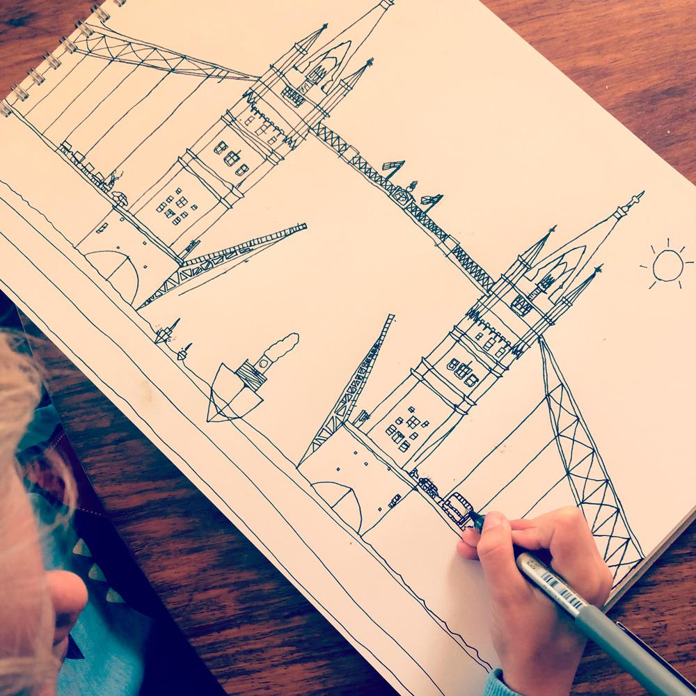 Drawing Tower Bridge, London, aged 7
