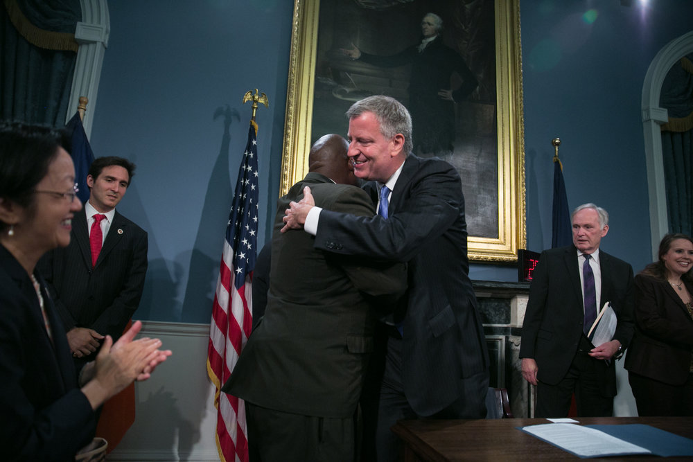 NYC Mayor Embraces Five Mualimmak of INC .During Passage of 1st solitary bill ending old SHU time.