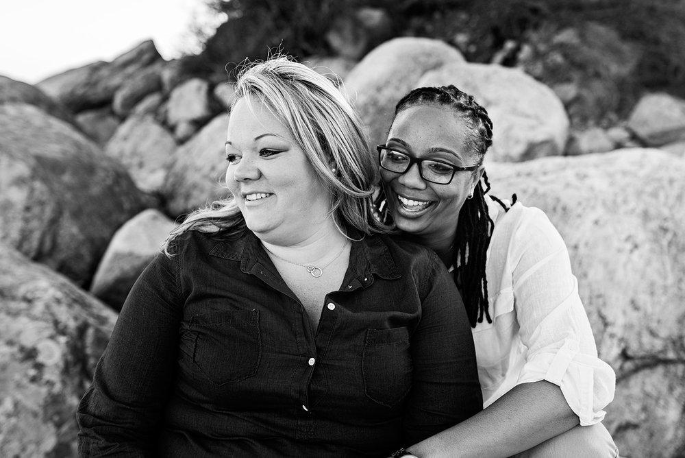 lesbian engagement photographer connecticut hammonasset beach