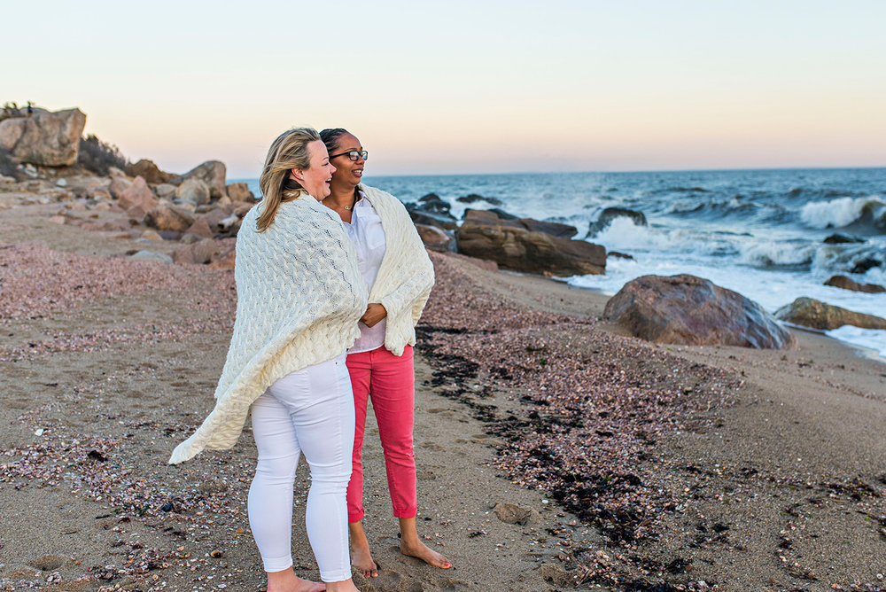 lesbian engagement photography hammonasset beach connecticut
