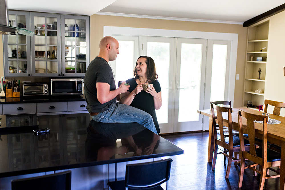 documentary photography husband and wife having coffee in their home woodstock, Connecticut couples photography