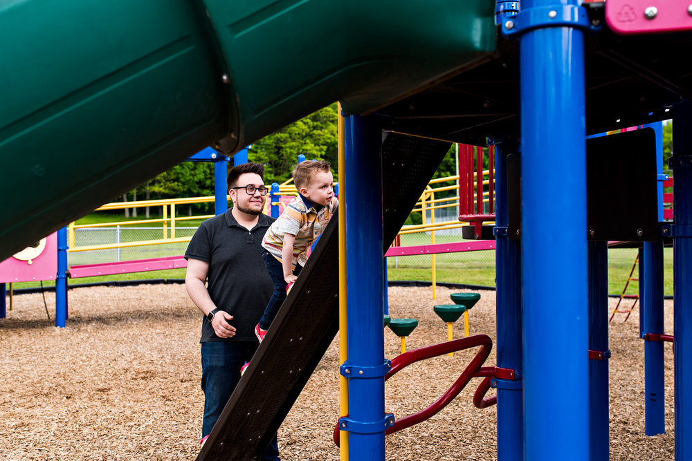 dad playing at panthorn park with son documentary family photography ct