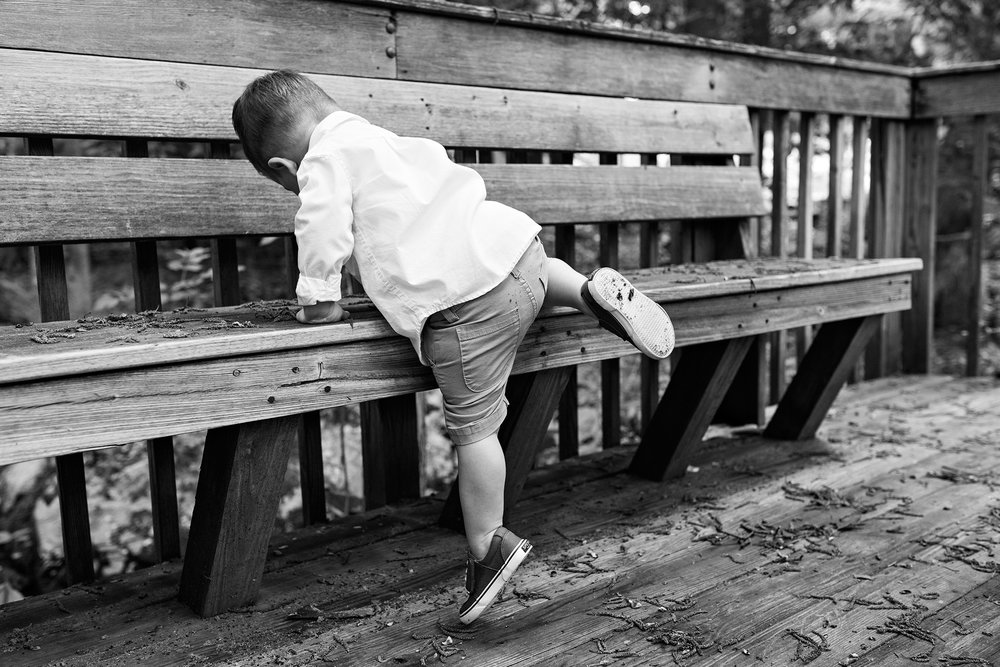 boy climbing on bench connecticut child photography