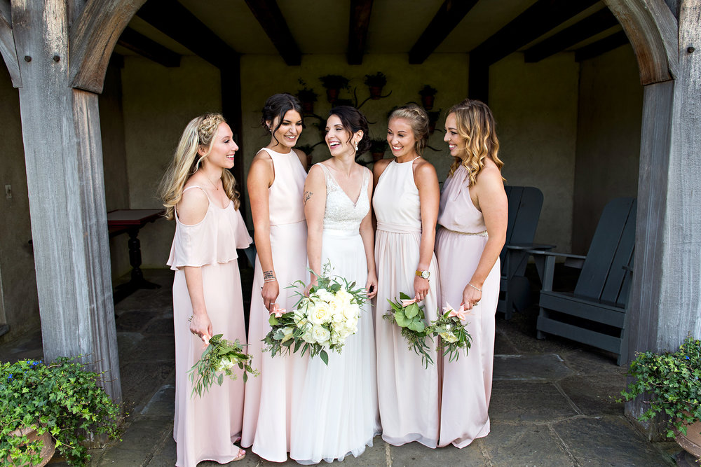bride with bridesmaids. topsmead state park wedding photography. ct wedding photographer