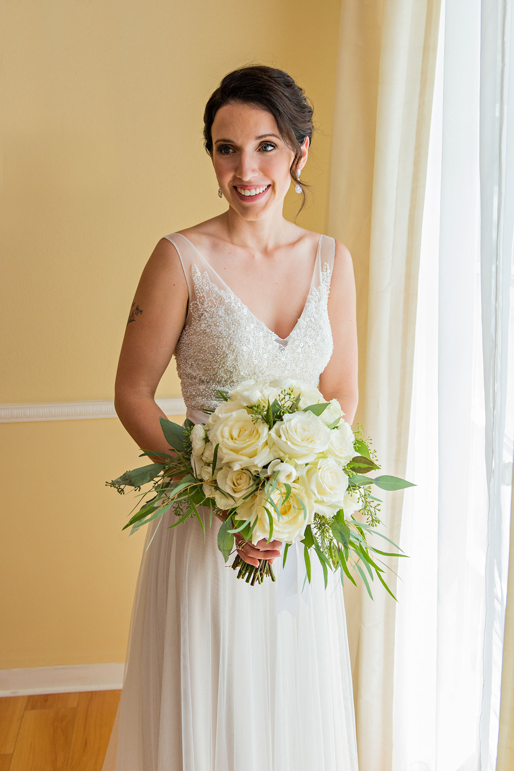 bride in wedding gown. litchfield inn wedding. connecticut wedding photographer